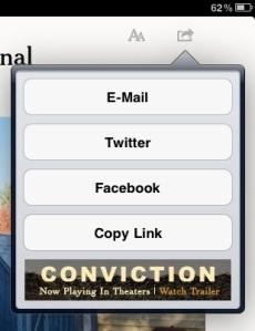 NYT iPad app sharing panel